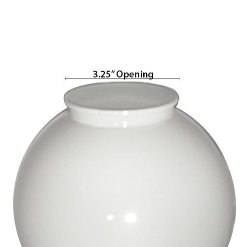 6 Inch Plastic Globe Plain Lip Opening White Opal Acrylic
