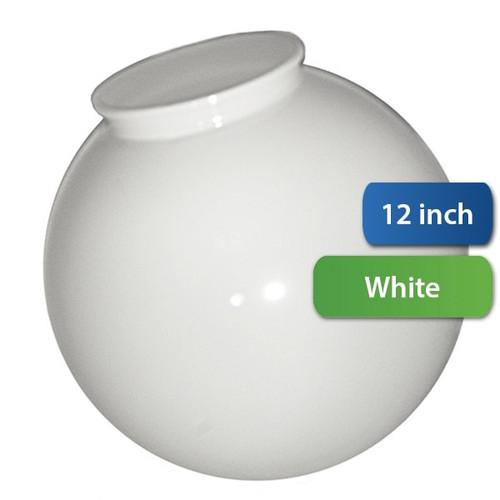 12 Inch Plastic Globe Plain Lip Opening White Acrylic