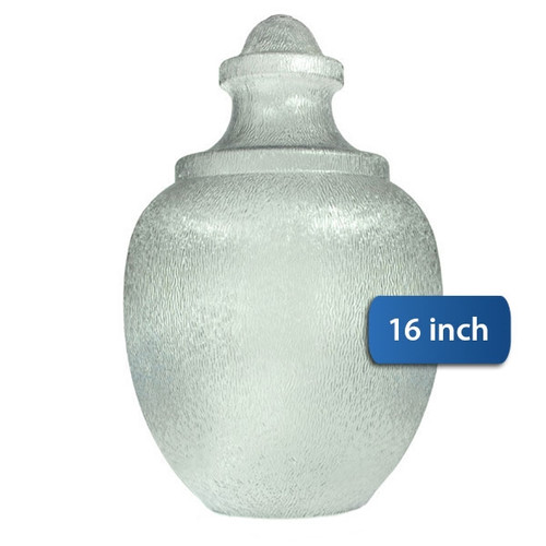 """Small Acorn Plastic Globe with 5.25"""" Neckless Opening Clear Textured Polycarbonate - 16 inches"""