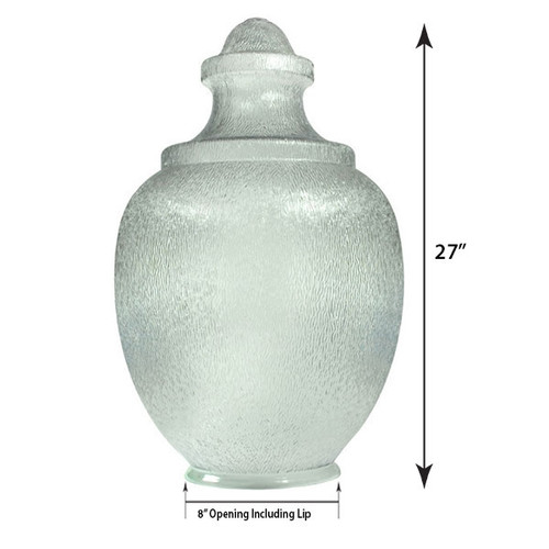 """Large Acorn Plastic Globe with 8"""" Plain Lip Opening Clear Textured Polycarbonate- 27 inches"""