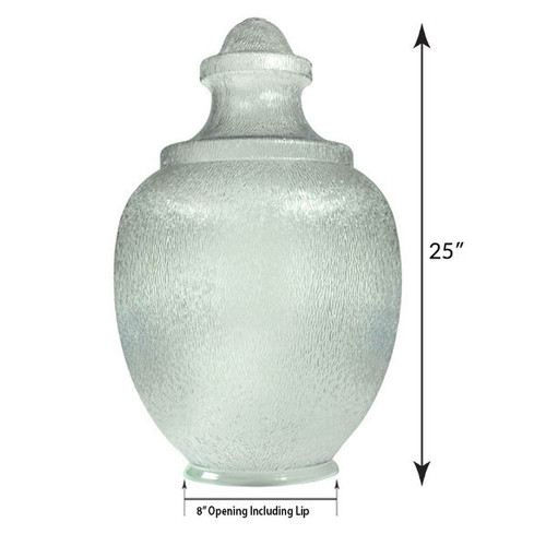 """Medium Acorn Plastic Globe with 8"""" Plain Lip Opening, Clear Textured Polycarbonate - 25 inches"""