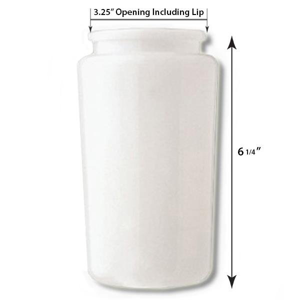 6 Inch Plastic Cylinder Plain Lip Opening White Opal Acrylic