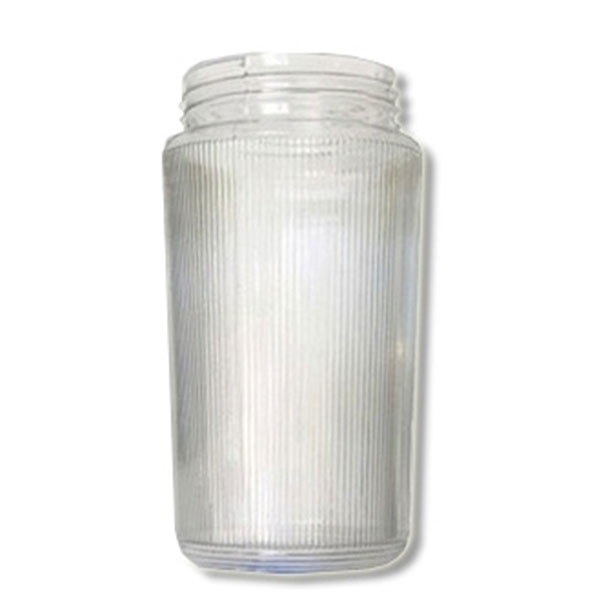 8 Inch Plastic Cylinder Threaded Lip Opening Clear Ribbed Lexan