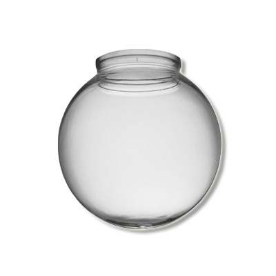 6 Inch Plastic Globe Plain Lip Opening Clear Acrylic