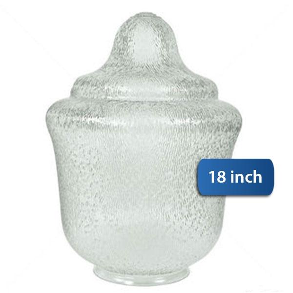 """Medium Acorn Plastic Globe 8"""" Plain Lip Opening - 18 inches"""