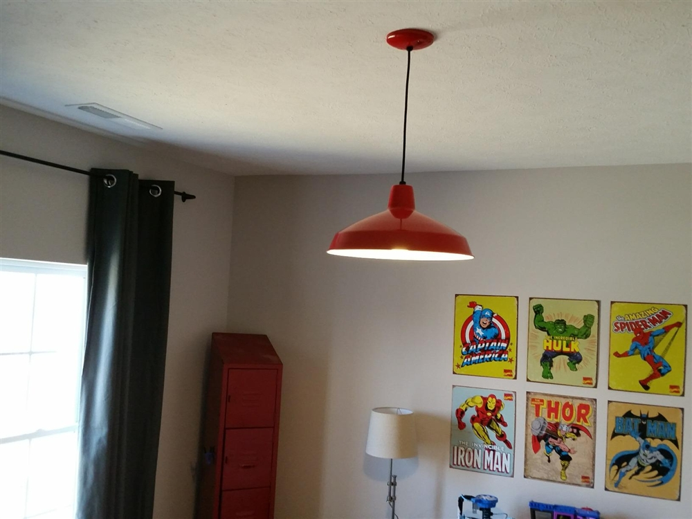 """Red Industrial Warehouse Style Pendant - 16"""" Diameter"""