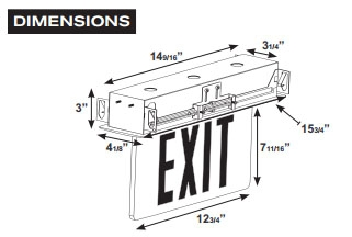 LED EdgeLit Exit Sign Recessed Mount- White Canopy