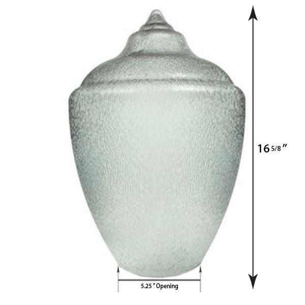 "Medium Acorn Plastic Globe with 5.25"" Neckless Opening - 16 inches"