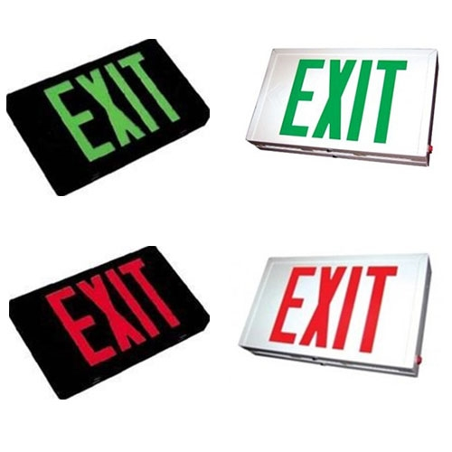 LED Steel Housing Exit Sign - With Battery Back-Up