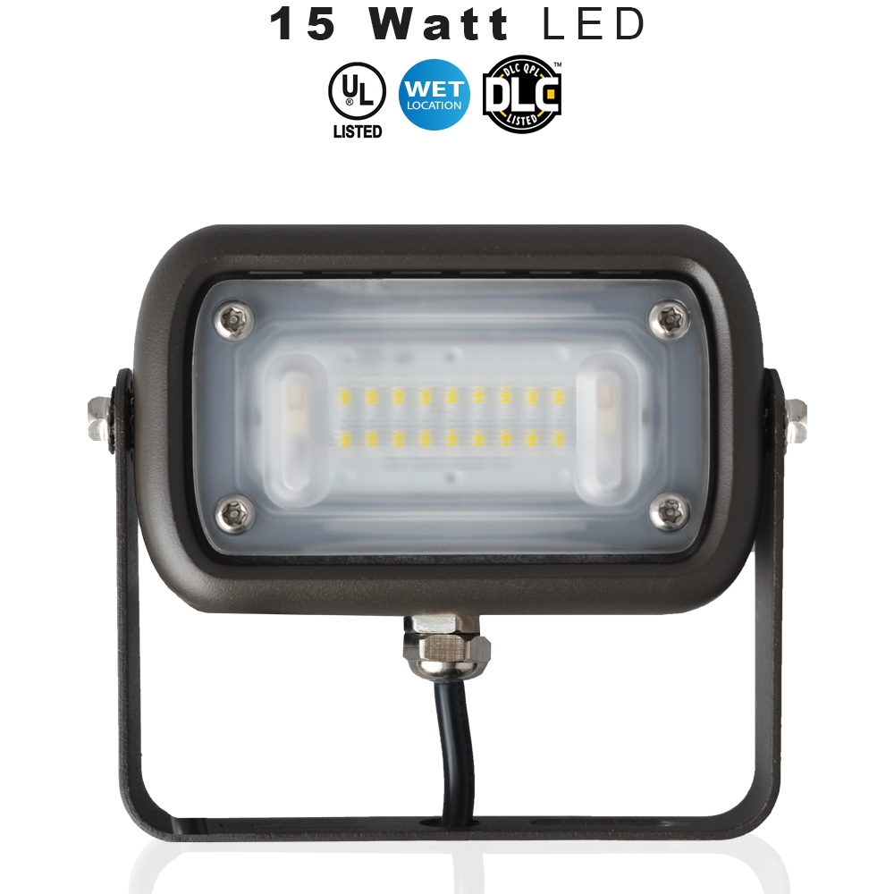 LED Up Light, Can be used for all LED Outdoor Flood Light Requirements, 15 Watt - 1500 Lumens,  With Adjustable U-Bracket Yoke Mount