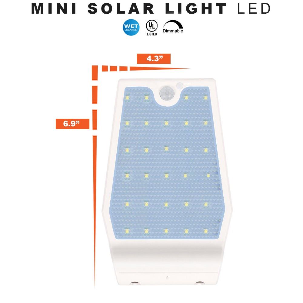 Mini LED Solar Wall Light - Emits Equivalent of 40W Light Bulb - Daylight White