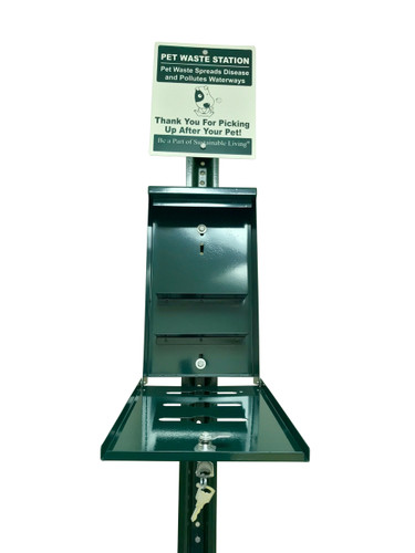 Poop bags dispenser has a slanted roof to keep rain water from getting in and making bags wet.  Locking hatch and includes two keys  Holds up to four rolls (800 bags) with three openings for easy access to three separate rolls (600 bags)  Powder coated aluminum for rust free use in all weather