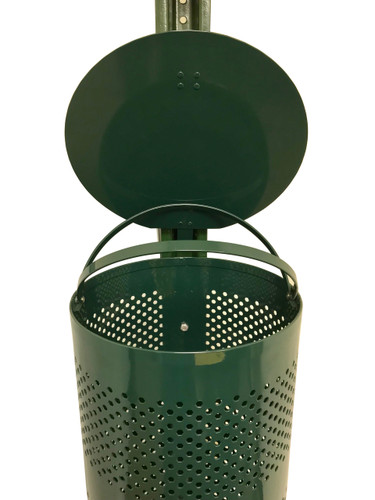 Poop bags 10 Gallon Trash Receptacle Has Loop Clamps  Trash receptacle has built in loop clamps to hold trash liner in place.  Non-locking lid with hinge to keep lid secure.  Mesh receptacle allows for water to escape and not pool with debris.