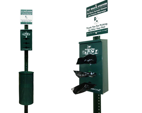 Poop bags dispenser, 10 gallon receptacle, lid, sign, hardware and installation instructions sheet! Everything comes in one carton, and the 8' foot U-Channel post is packed separately.