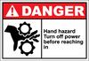Danger Sign hand hazard turn off power