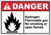Danger Sign hydrogen flammable gas no smoking
