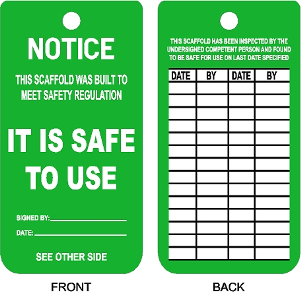 Scaffold Inspection Tag Safetykore Com