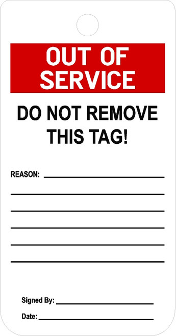 Notice Out Of Service tag