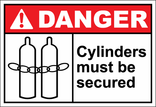 Danger Sign cylinders must be secured