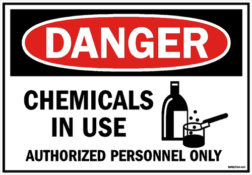 Chemicals In Use Sign