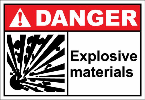 Danger Sign explosive materials