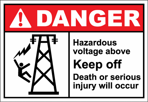 Danger Sign hazardous voltage above keep off2