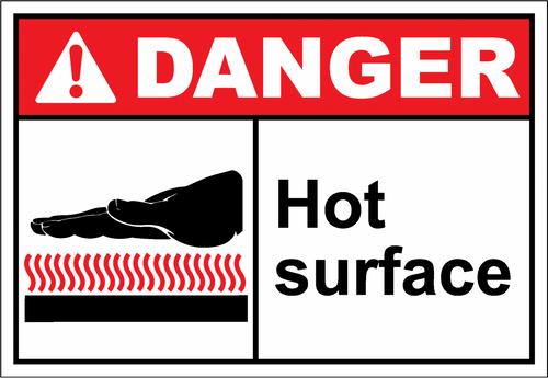 Danger Sign hot surface