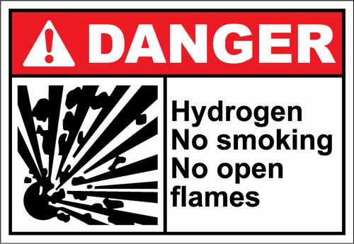 Danger Sign hydrogen no smoking no open flames