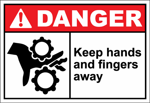 Danger Sign keep hands and fingers away