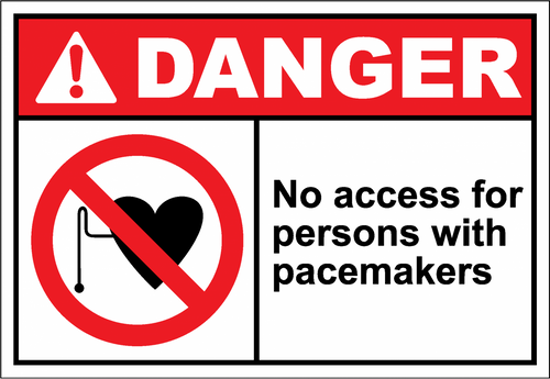 Danger Sign no access for persons with pacemakers