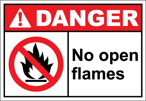Danger Sign no open flames