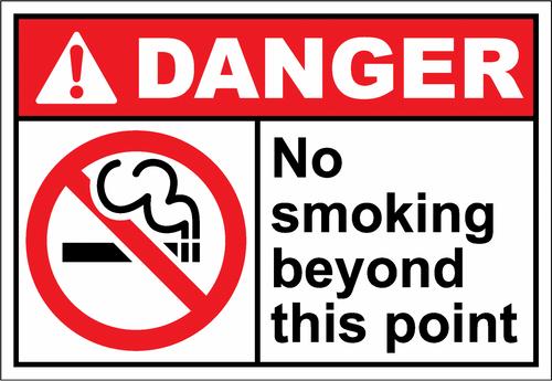 Danger Sign no smoking beyond this point