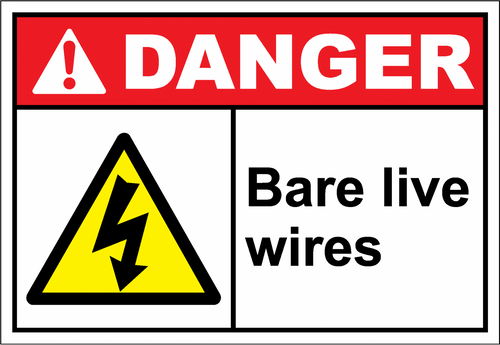 Danger Sign bare live wires
