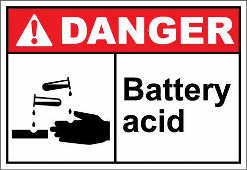 Danger Sign battery acid
