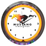 FORD MUSTANG SINCE 1964 ORANGE NEON CLOCK