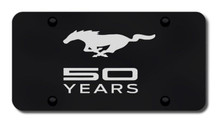 License Plate - Mustang 50 YEARS Laser Etched on Black