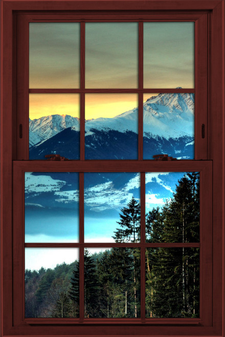 Window Illusion Poster Sunset Over Mountains