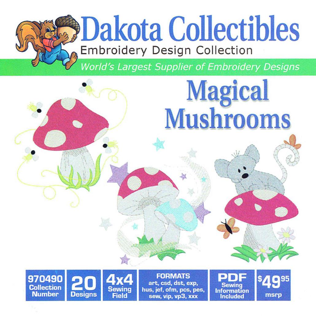 Dakota Collectibles Magical Mushrooms Embroidery Design Cd