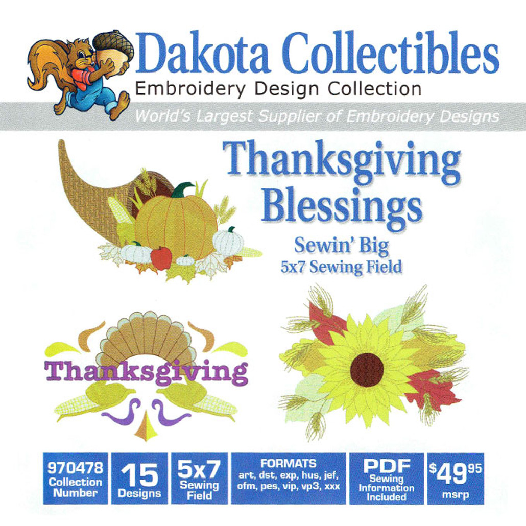 Dakota Collectibles Sewin Big Thanksgiving Blessings Embroidery