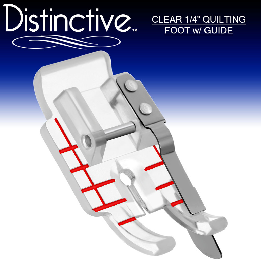 """Distinctive Clear 1-4"""" Quilting/Sewing Machine Presser Foot with Edge Guide w/ Free Shipping"""