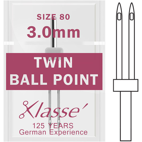 Klasse Twin Ball Point 80 - 3.0mm Sewing Needles