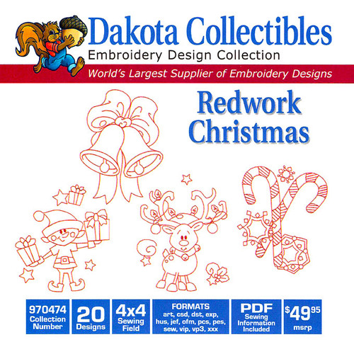 Dakota Collectibles Redwork Christmas Embroidery Design CD
