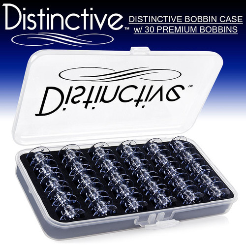 Distinctive Premium Bobbin Box Case with 30 Premium Style SA156 and 15J Bobbins Made for Brother, Singer and Janome Sewing Machines