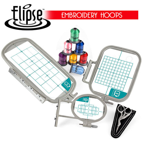 Elipse 3-Hoop Embroidery Package w/ Embroidery Thread and Scissors