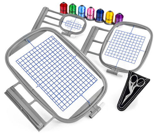 Slide-On 3-Hoop Embroidery Package w/ Embroidery Thread and Scissors