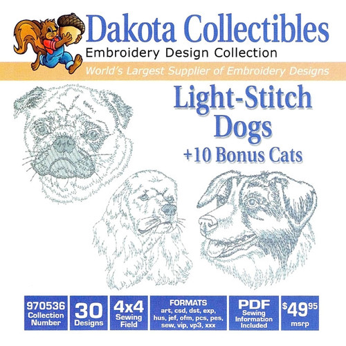 Dakota Collectibles Light Stitch Dogs Embroidery Design CD