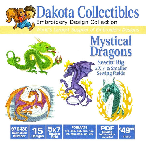Dakota Collectibles Mystical Dragons Embroidery Design CD