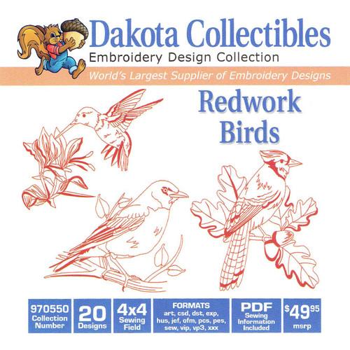 Dakota Collectibles Redwork Birds Embroidery Design CD