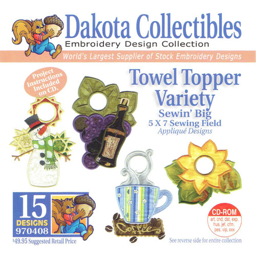 Dakota Collectibles Sewin' Big Towel Topper Variety Embroidery Design CD