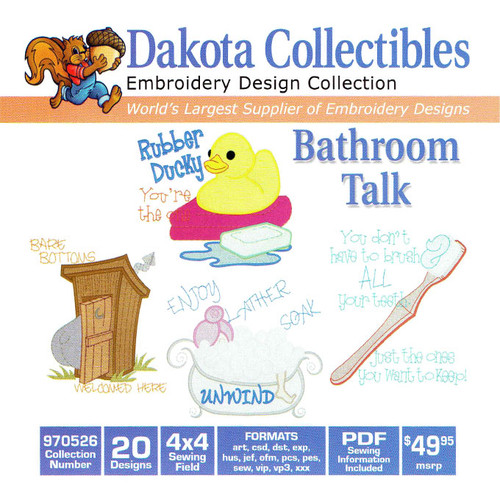Dakota Collectibles Bathroom Talk Embroidery Design CD